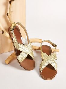 Braided Cross Strap Flat Sandals