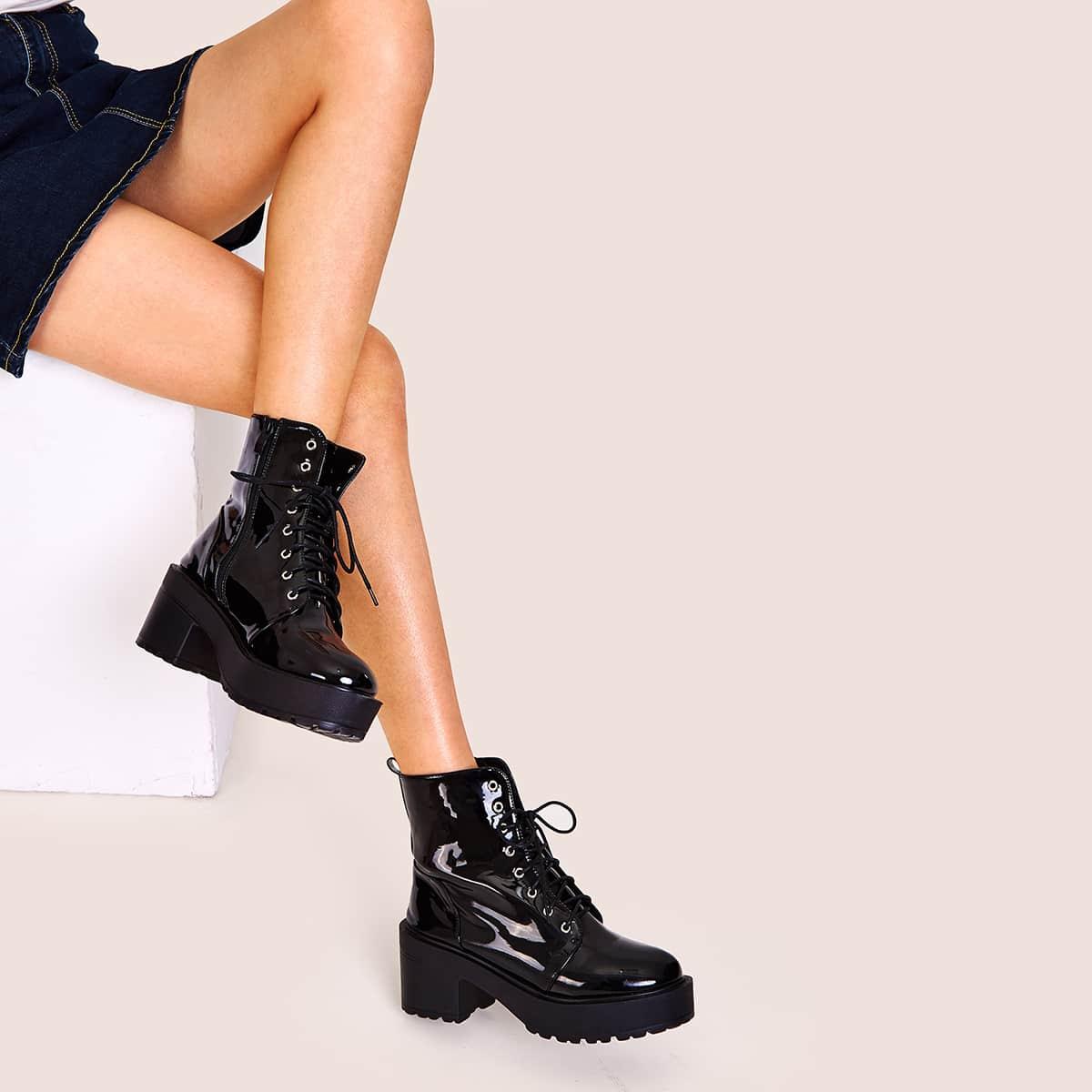 Лакированные Ботинки На Высокой Платформе Со Шнуровкой