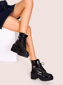 Lace-up Front Lug Sole Chunky Boots