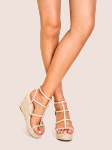 Double Buckle Strap Espadrille Wedges