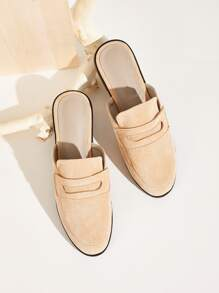 Faux Suede Flat Mules