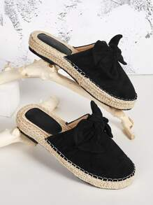 Bow Decor Suede Espadrille Flat Mules