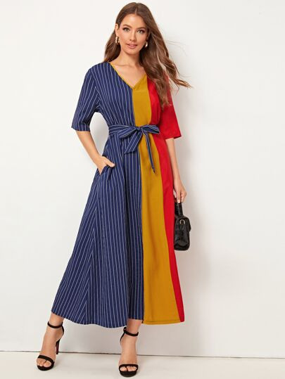 Color Block Tie Waist Longline Dress