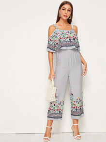 Off-shoulder Ruffle Floral Wide Leg Jumpsuit