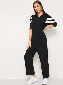 Button Front Stripe Side Jumpsuit