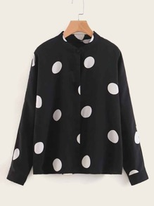 Polka Dot Stand Neck Blouse