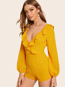 Deep V-neck Ruffle Trim Mini Romper
