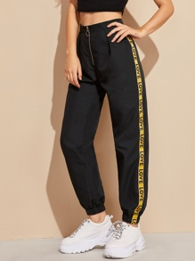 Side Letter Tape Zipper Fly Sweatpants