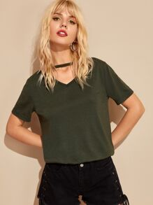 Choker Neck Solid Tee