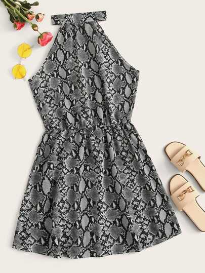 Snakeskin Print Halter Neck Dress