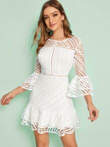 Guipure Lace Flounce Sleeve Ruffle Hem Dress