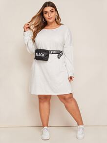 Plus Drop Shoulder Tee Dress Without Bag