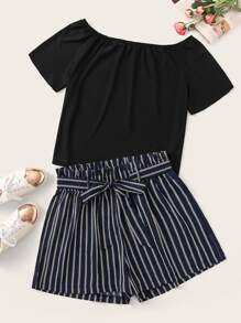 Plus Solid Tee With Striped Belted Shorts