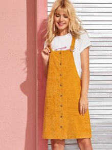 Corduroy Button Front Dual Pocket Pinafore Dress