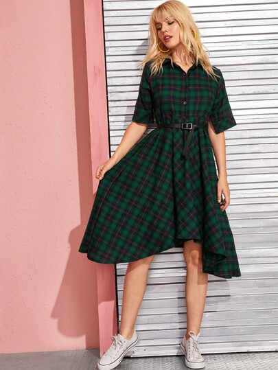 Tartan Print Belted Hankey Hem Shirt Dress