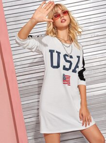 Contrast Panel Letter And Flag Print Sweatshirt Dress