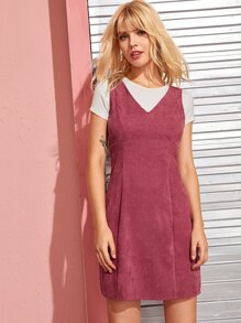 Zip Back Corduroy Solid Dress