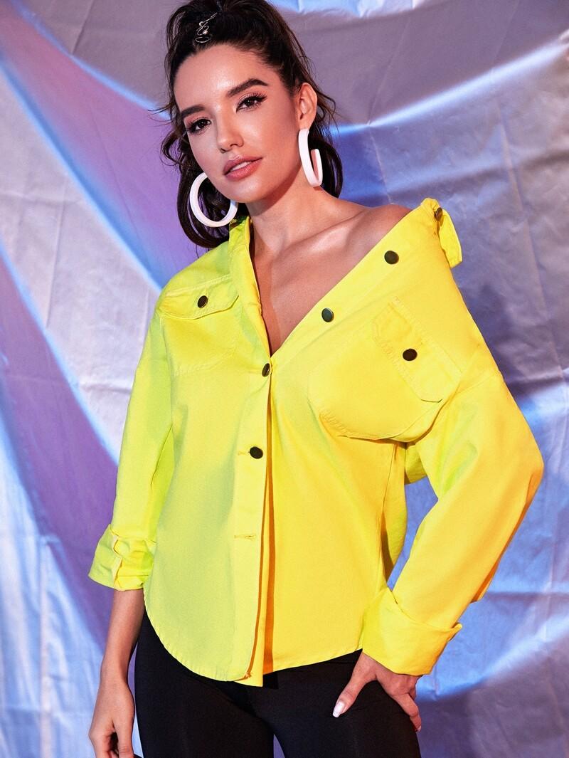 8c6c95d9a4 Neon Yellow Flap Pocket Curved Hem Denim Shirt