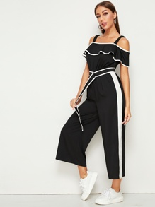 Contrast Binding Cold Shoulder Belted Jumpsuit