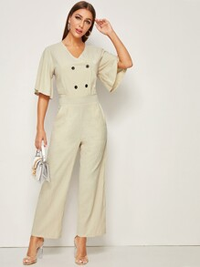 Double Button V Neck Jumpsuit