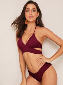 Wrap Halter Top With Cheeky Bikini Set