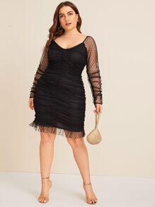 Plus Contrast Mesh Ruched Scoop Neck Dress