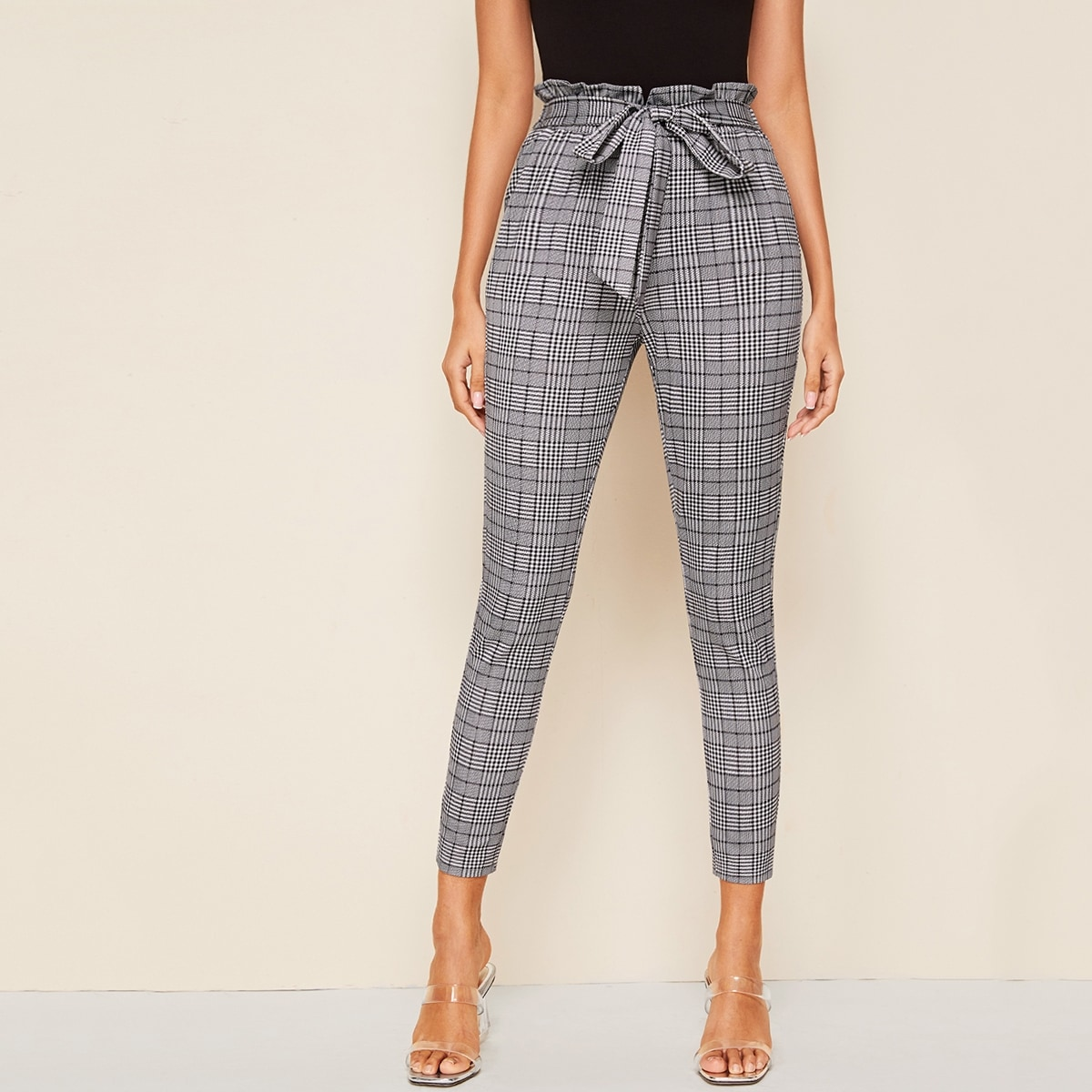 Paperbag-taille Self Belted Glen-broek