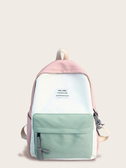 Color Block Slogan Patch Decor Backpack