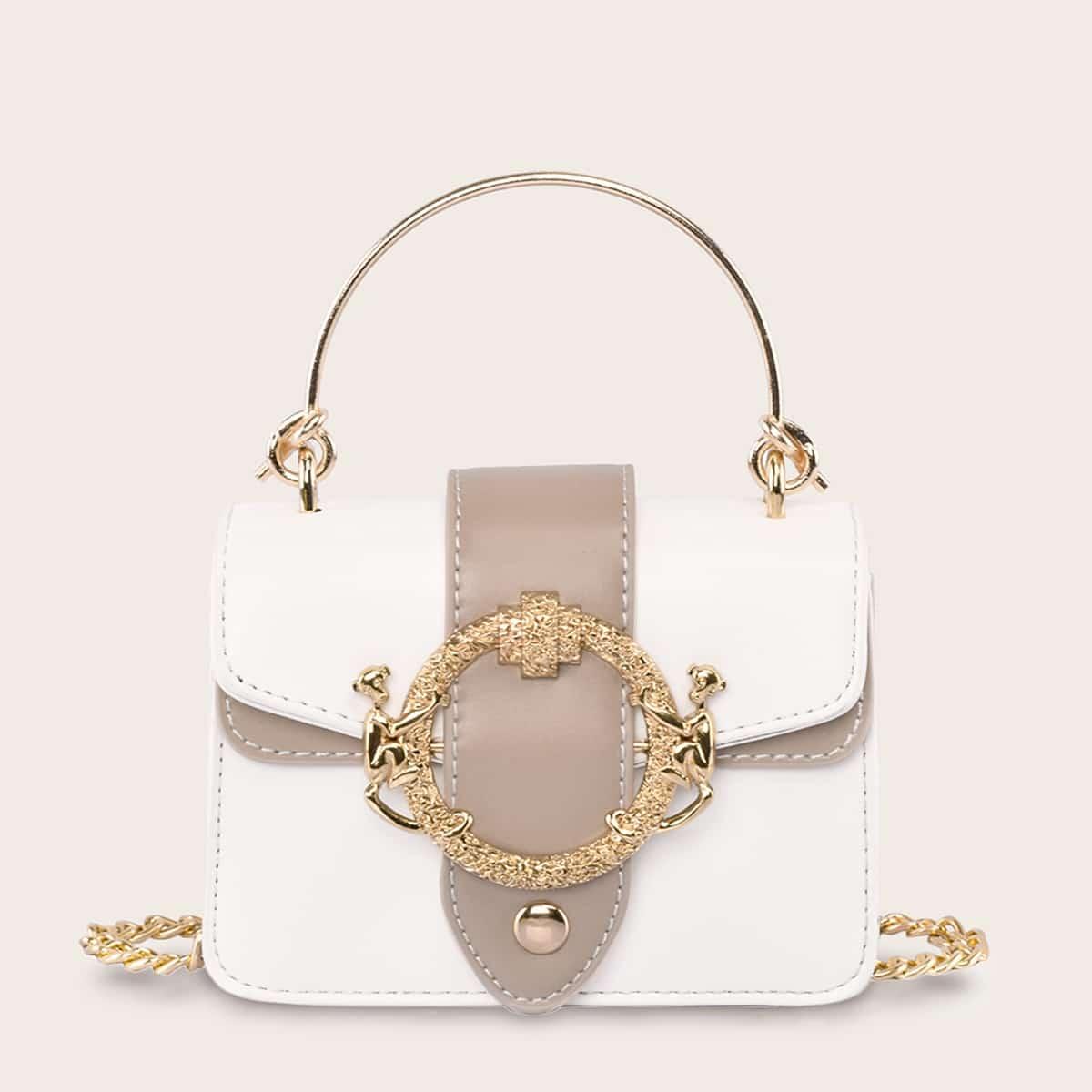 Двухцветная сумка-портфель с металлическим декором