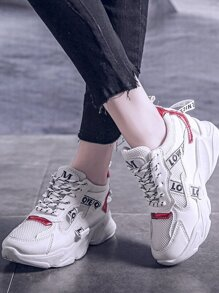 Slogan Ribbon Chunky Sole Trainers