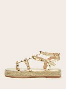 Studded Decor Strappy Espadrille Sandals