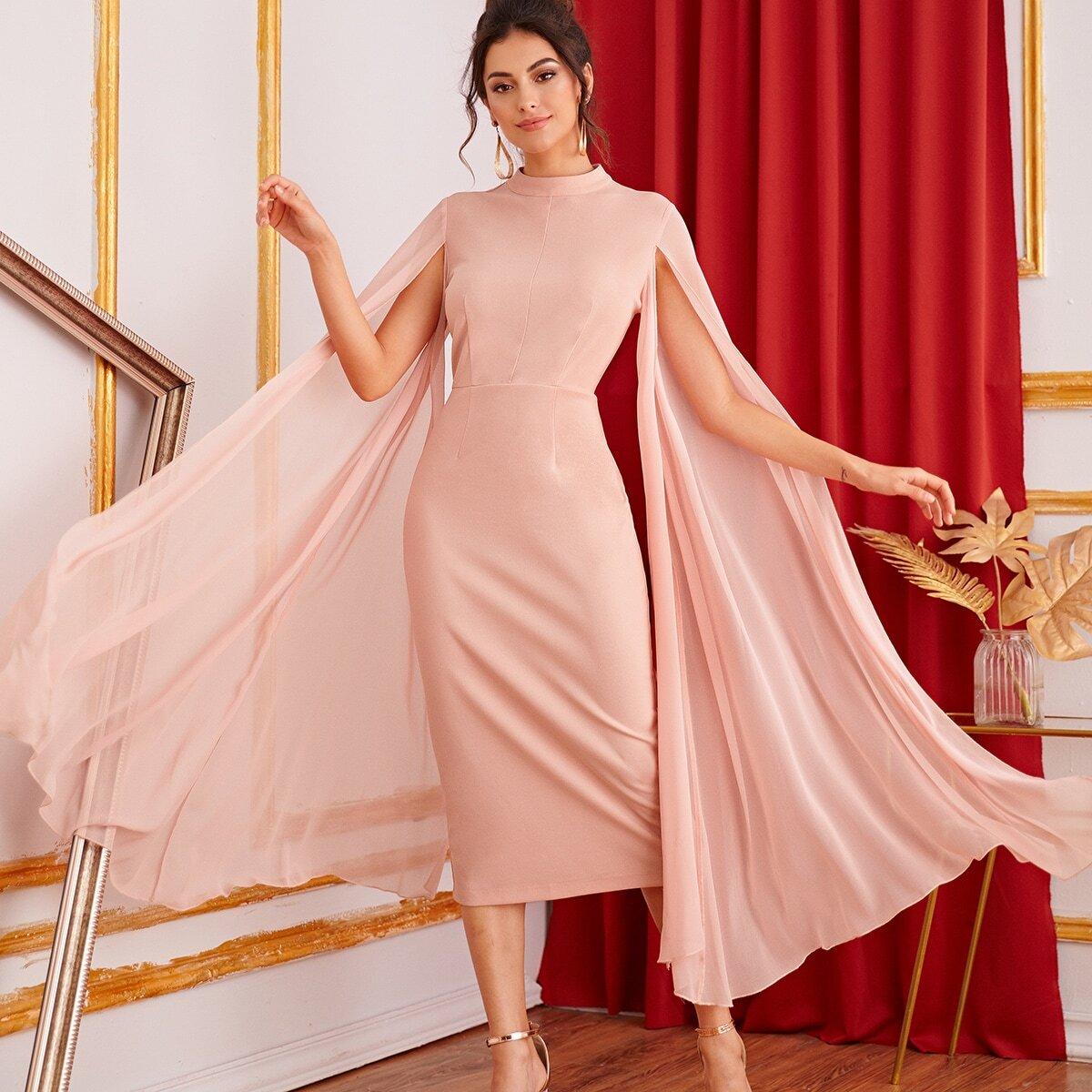 Mock-neck Exaggerate Cape Sleeve Split Hem Pencil Dress