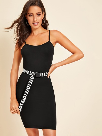 eab3bf0ae Form Fitted Cami Dress With Letter Push Buckle Belt