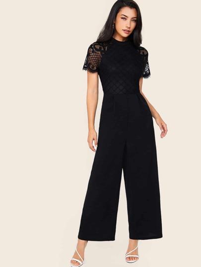 fde7a8b56 Zip Back Raglan Sleeve Lace Bodice Wide Leg Jumpsuit