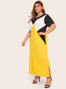 Plus Color Block Longline Dress