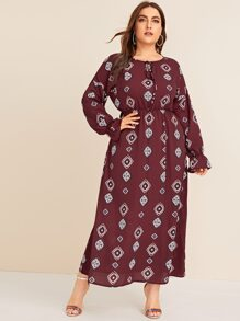 Plus Knot Front Tribal Print Longline Dress