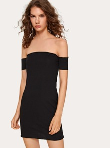 Rib-knit Bardot Bodycon Dress