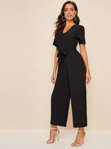 Half Button Scallop Trim Belted Jumpsuit