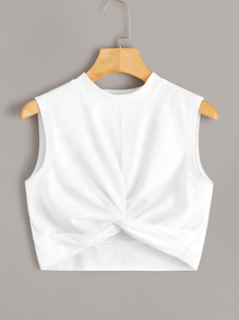 Solid Twist Front Crop Top