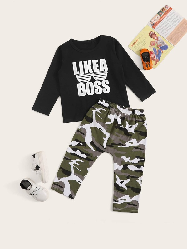 b5a2bd3ef Toddler Boys Letter Print Tee With Camo Print Pants