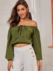Knot Front Off Shoulder Crop Top