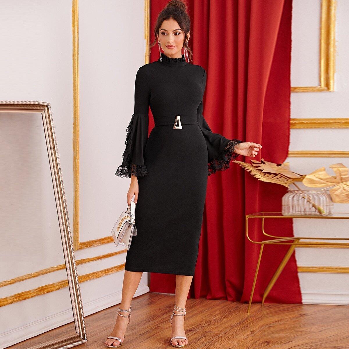 Frilled Neck Lace Trim Exaggerate Bell Sleeve Split Hem Dress