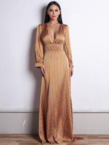 Missord Polka-dot Print Plunge Neck Satin Maxi Dress
