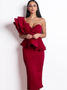 Missord Exaggerated Ruffle One Shoulder Peplum Pencil Dress