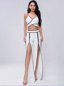 Missord Contrast Binding Crop Cami Top & Split Thigh Pants Set