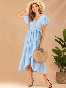 Butterfly Sleeve Belted Tulip Hem Wrap Dress