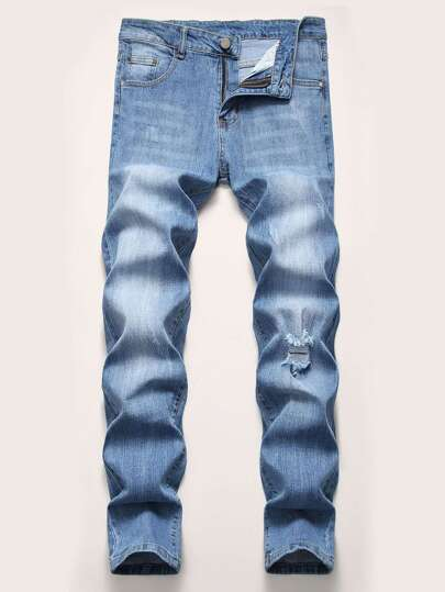 Guys Pocket Zip Ripped Washed Jeans