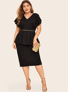 Plus Ruffle Cuff Slit Back Sheath Dress