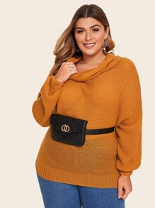 Plus Batwing Sleeve Cowl Neck Sweater Without Bag