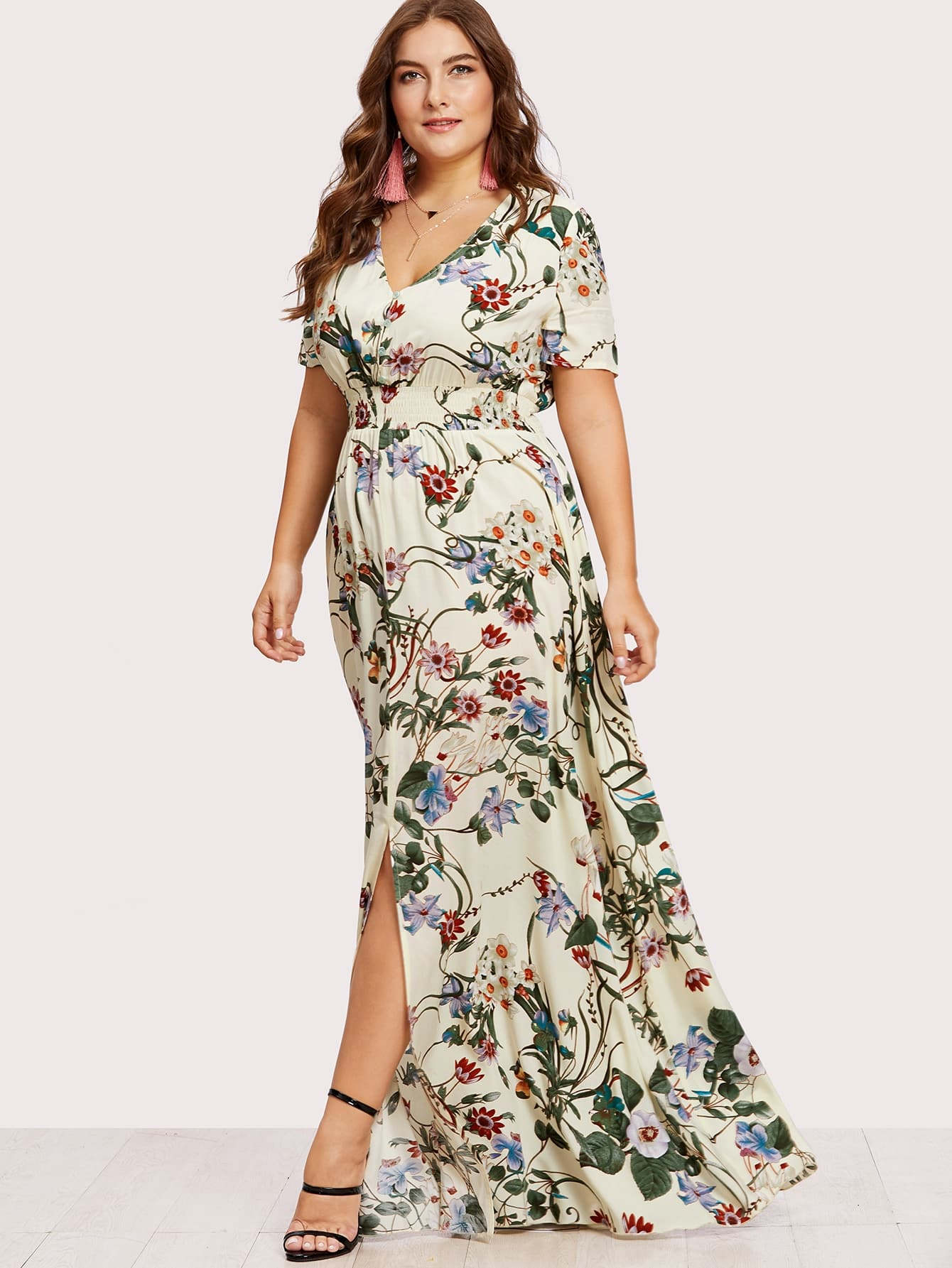 Plus Slit Button Up Front Floral Dress